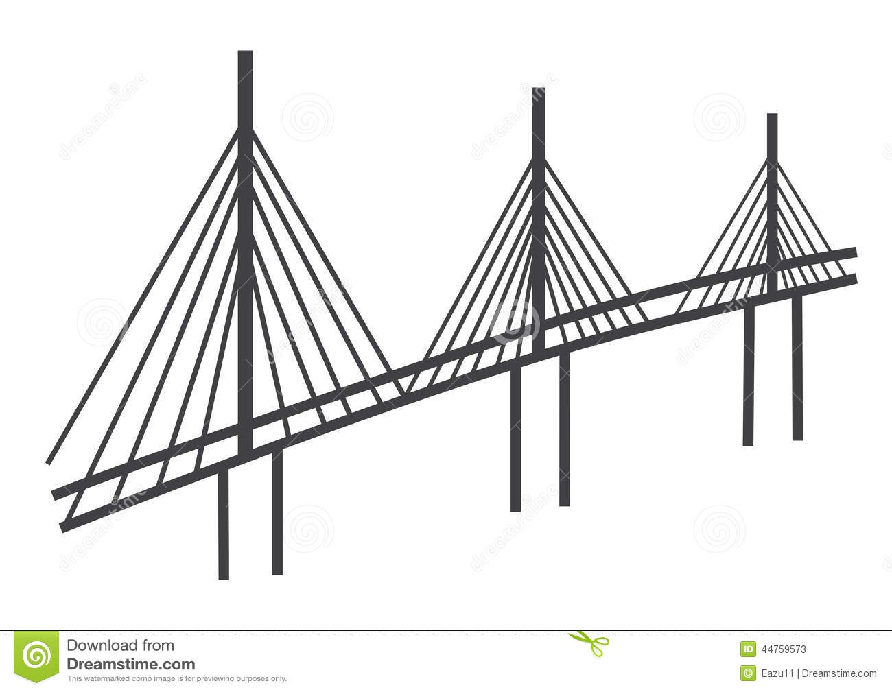 Cable Bridge Drawing Editorial Stock Photo Illustration