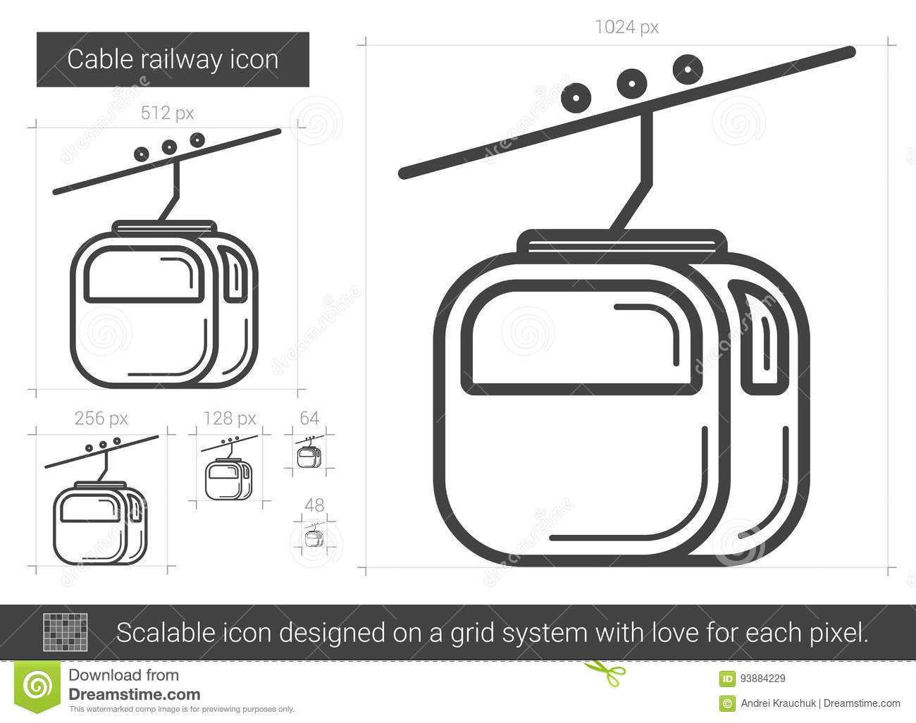 Cable Railway Line Icon Stock Vector Image Of Electrical