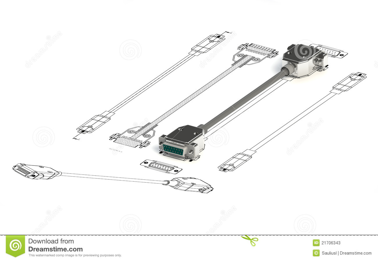 Cable On Top Of A Sketch Stock Illustration Illustration