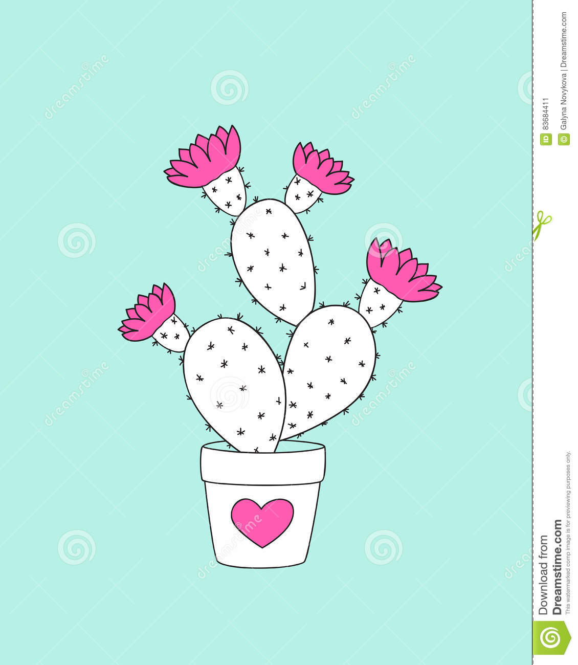 Cactus In The Flower Pot With Pink Heart Stock Vector