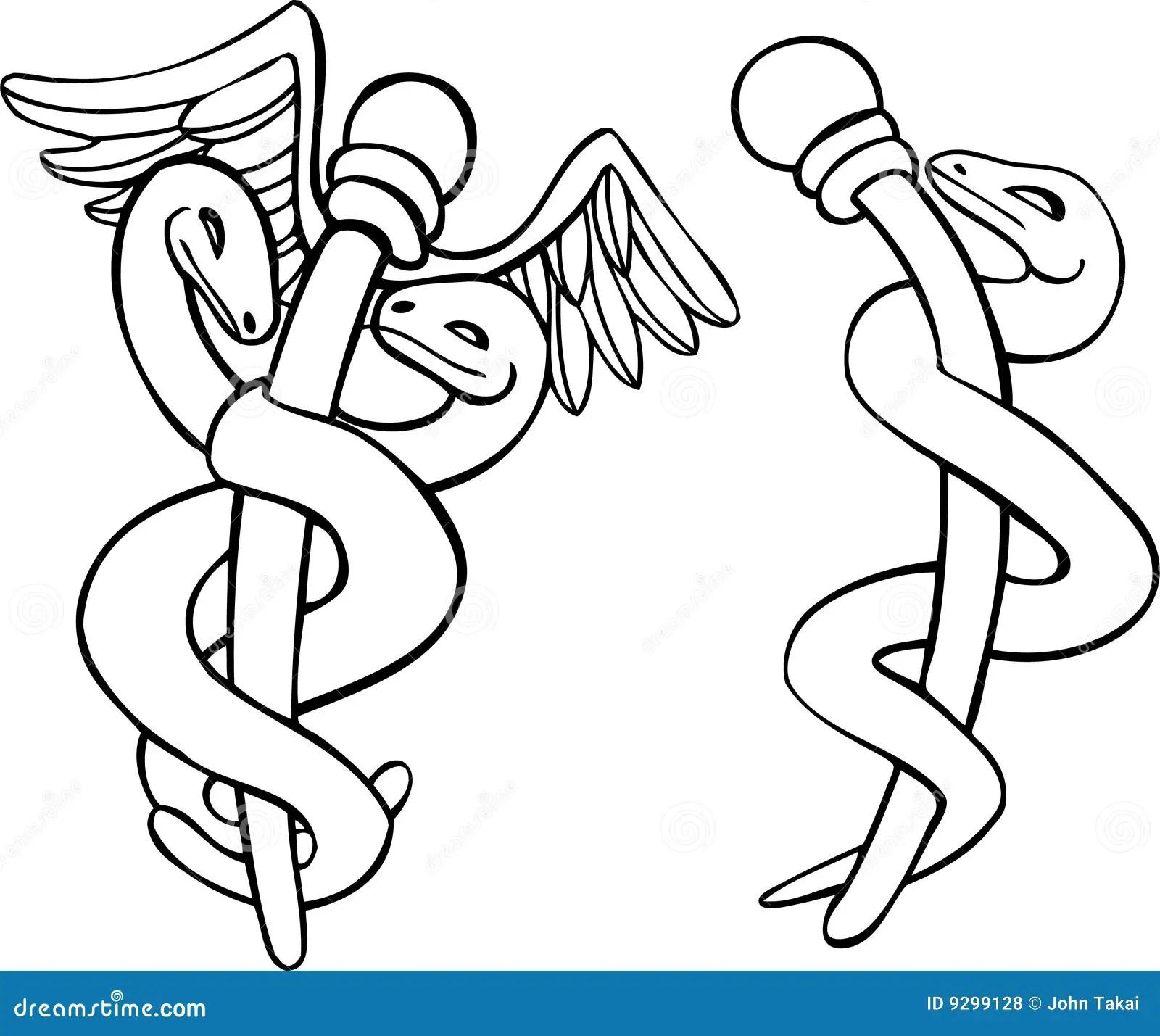Caduceus Medical Symbol stock vector. Image of coloring