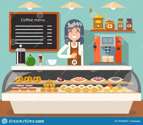 small resolution of cafe coffee shop woman business interior female seller bakery taste sweets flat design vector illustration