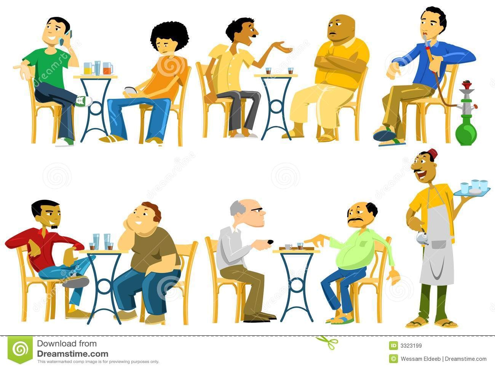Cafe Goers In Egypt Stock Vector Illustration Of