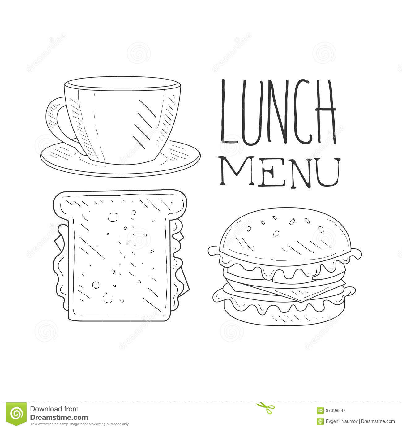 Cafe Lunch Menu Promo Sign In Sketch Style With Sandwich