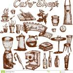 Cafe Shop Set Stock Illustration Illustration Of Vintage 35912807