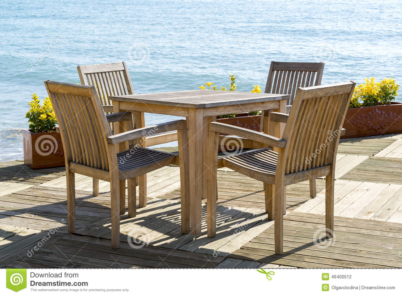 cafe chairs wooden ez hang with tables and at seaside stock photo
