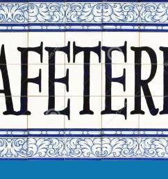 cafeteria sign on tiles seville [ 1300 x 718 Pixel ]