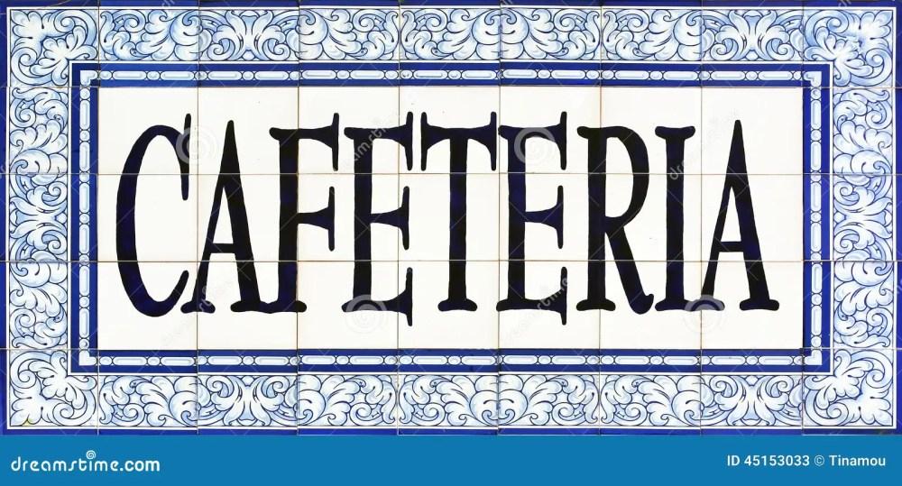 medium resolution of cafeteria sign on tiles seville