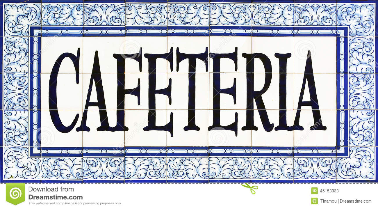 hight resolution of cafeteria sign on tiles seville