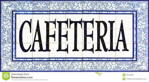 small resolution of cafeteria sign on tiles seville
