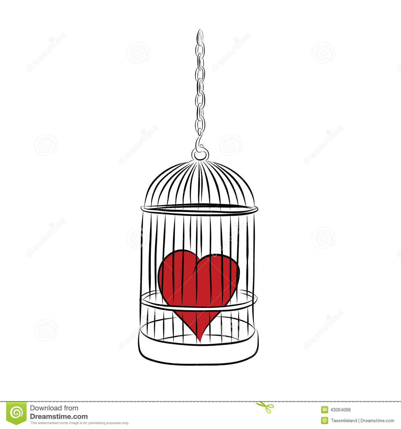 Cage With Red Heart Stock Vector