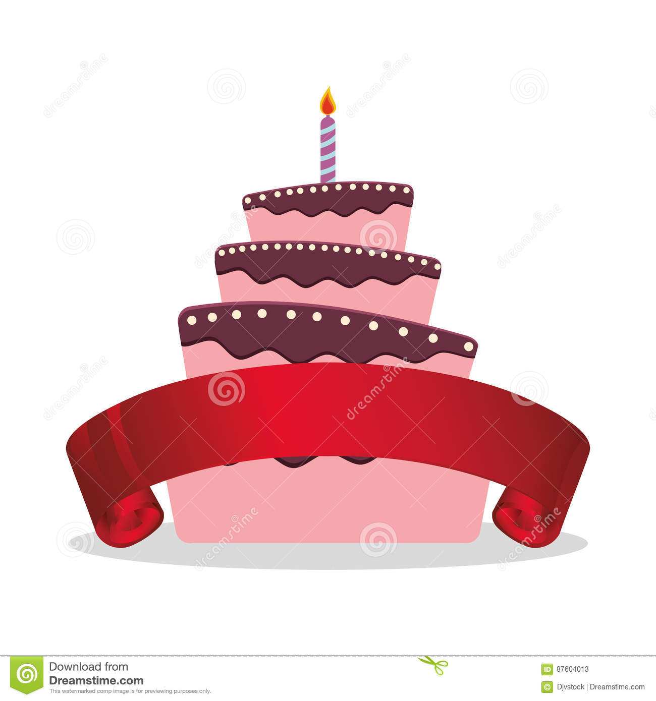 Cake Birthday Candle And Red Ribbon Stock Illustration