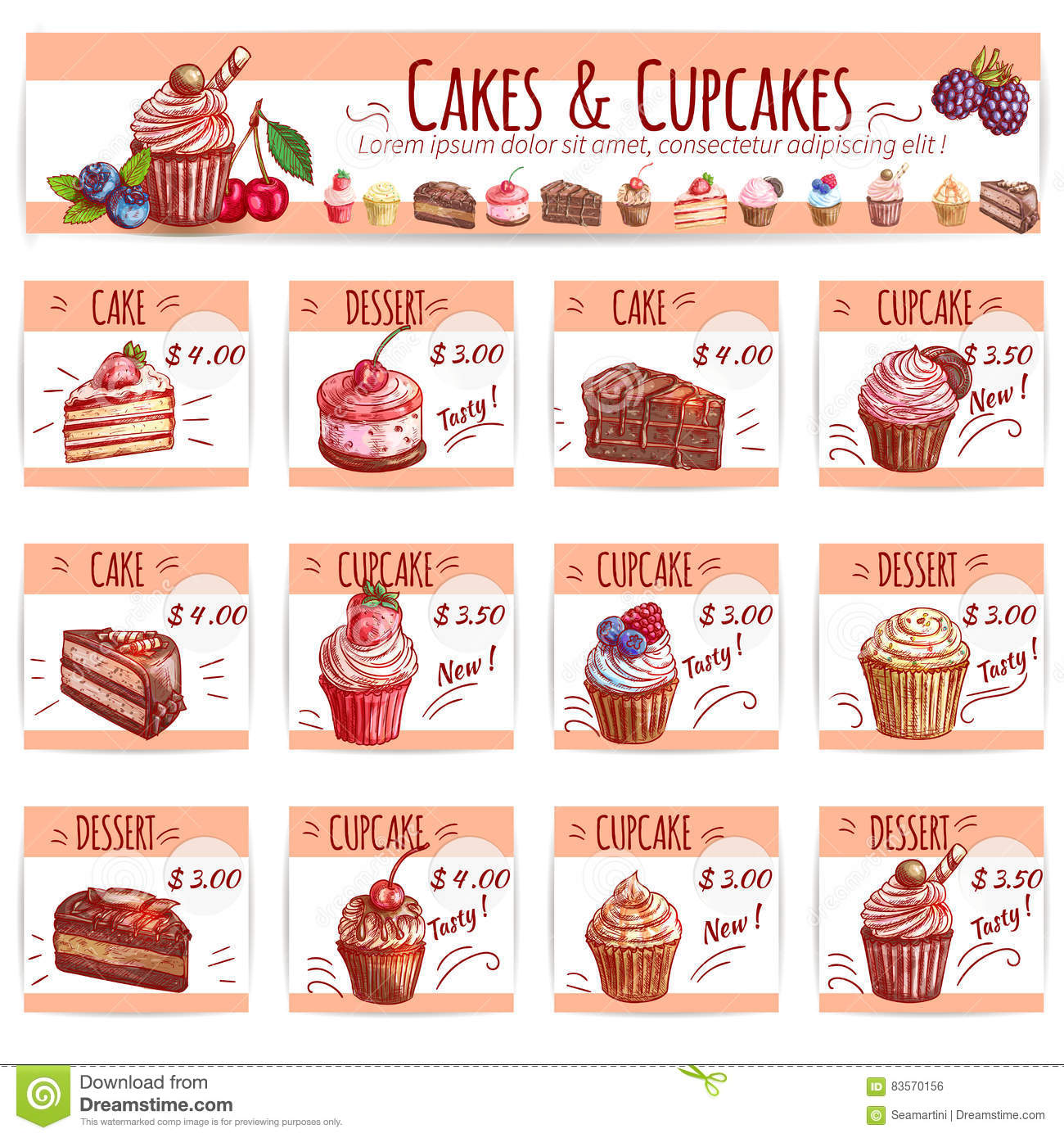 Cake Menu Template For Bakery Pastry Shop Design Stock Vector