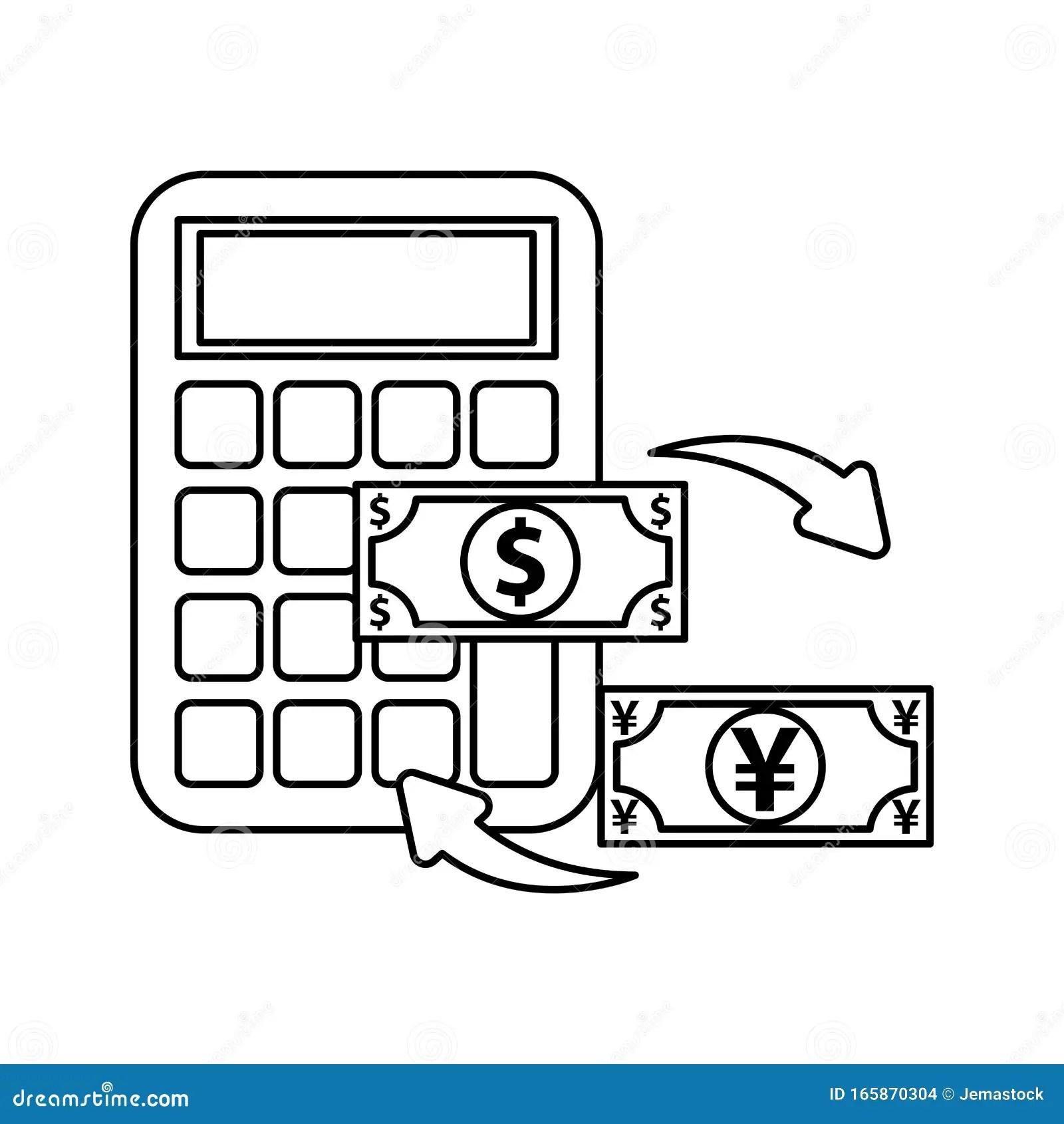 Calculator Math With Dollar And Yen Bills Stock Vector