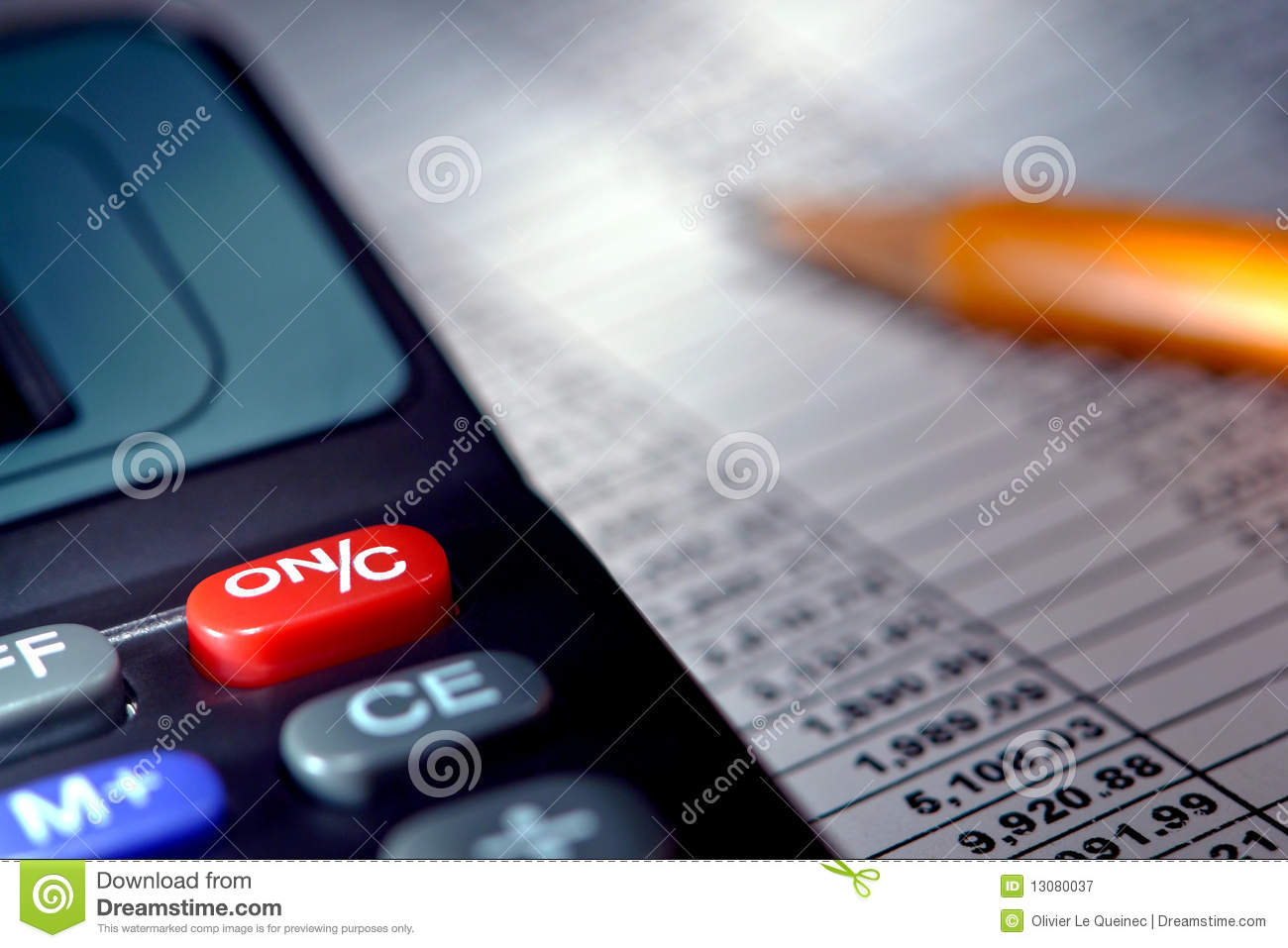Calculator Over Financial Budget Spreadsheet Royalty Free Stock Photography