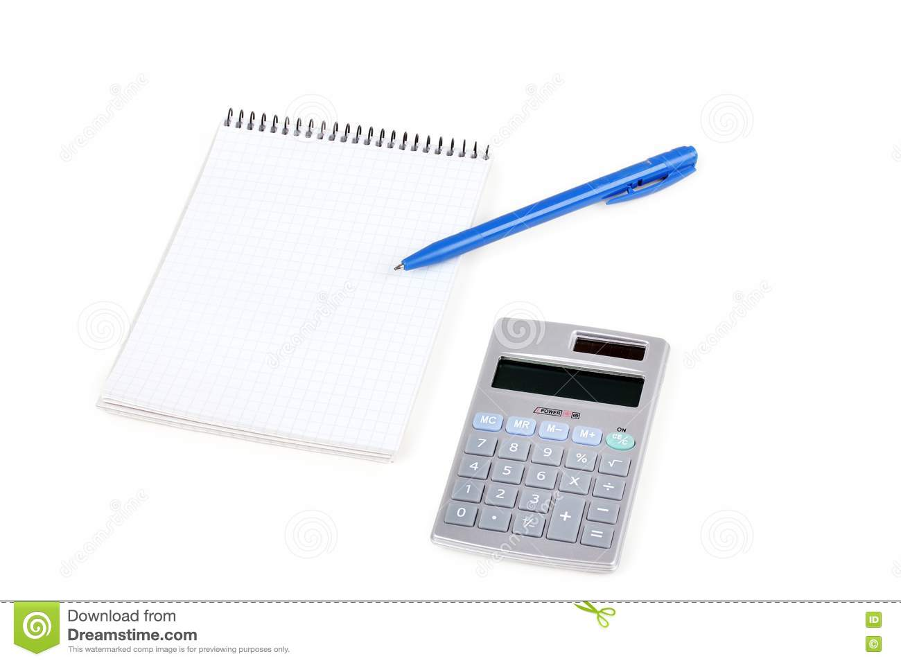 Calculator And Paper Notebook With Blue Pen Royalty Free