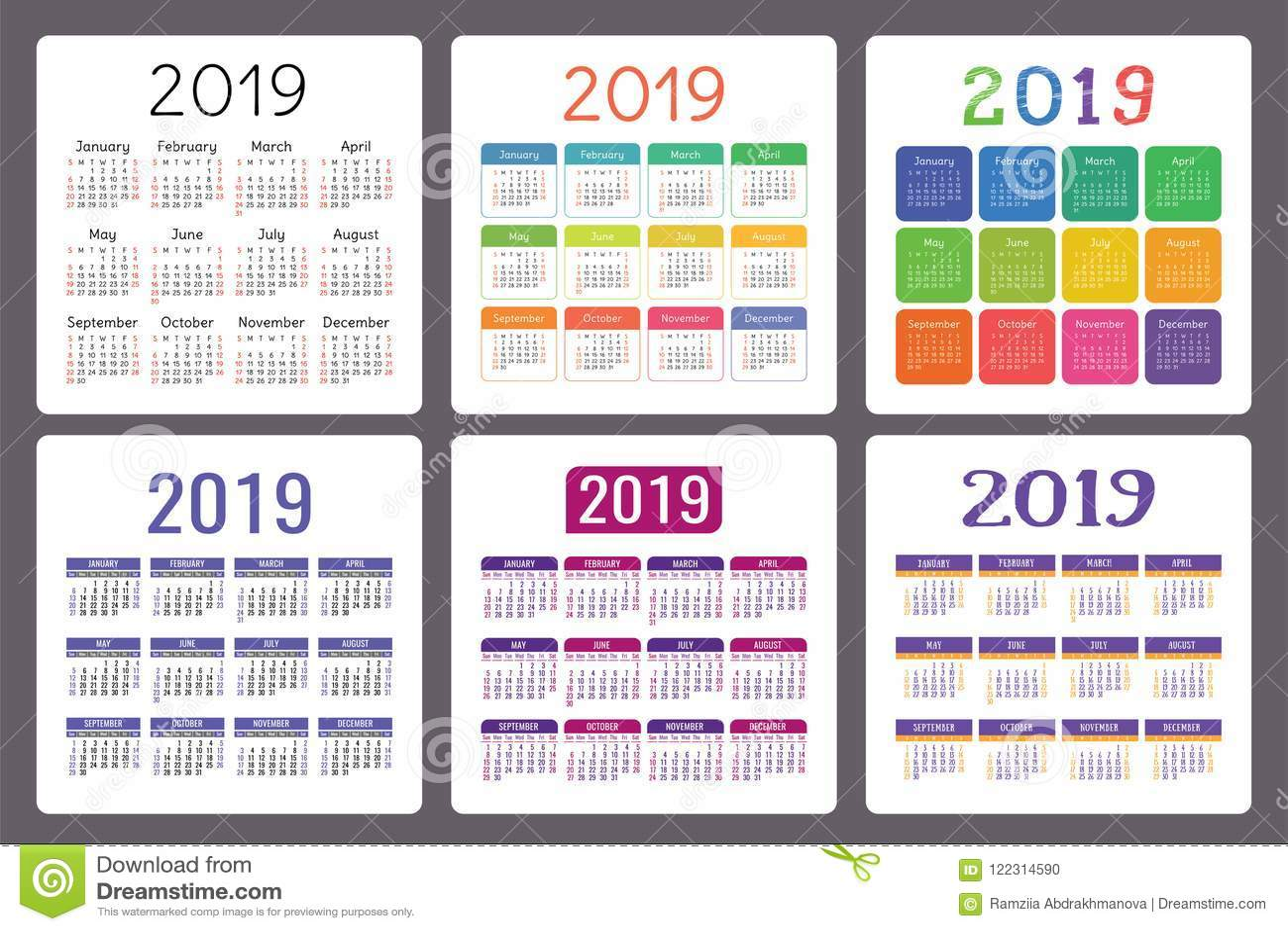 Calendario Anos Grupo Colorido Do Ingles Comecos Da