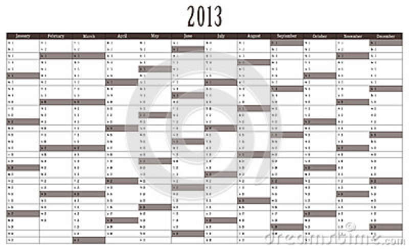 Calendar 2013 stock illustration. Illustration of brown