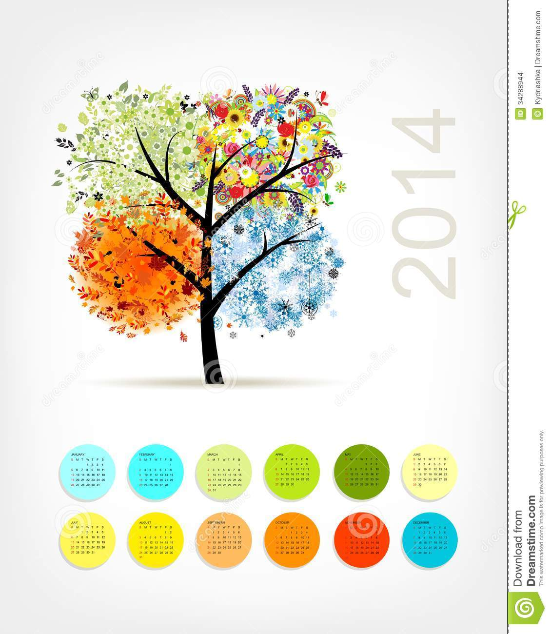 Calendar With Four Season Tree For Your Stock Images