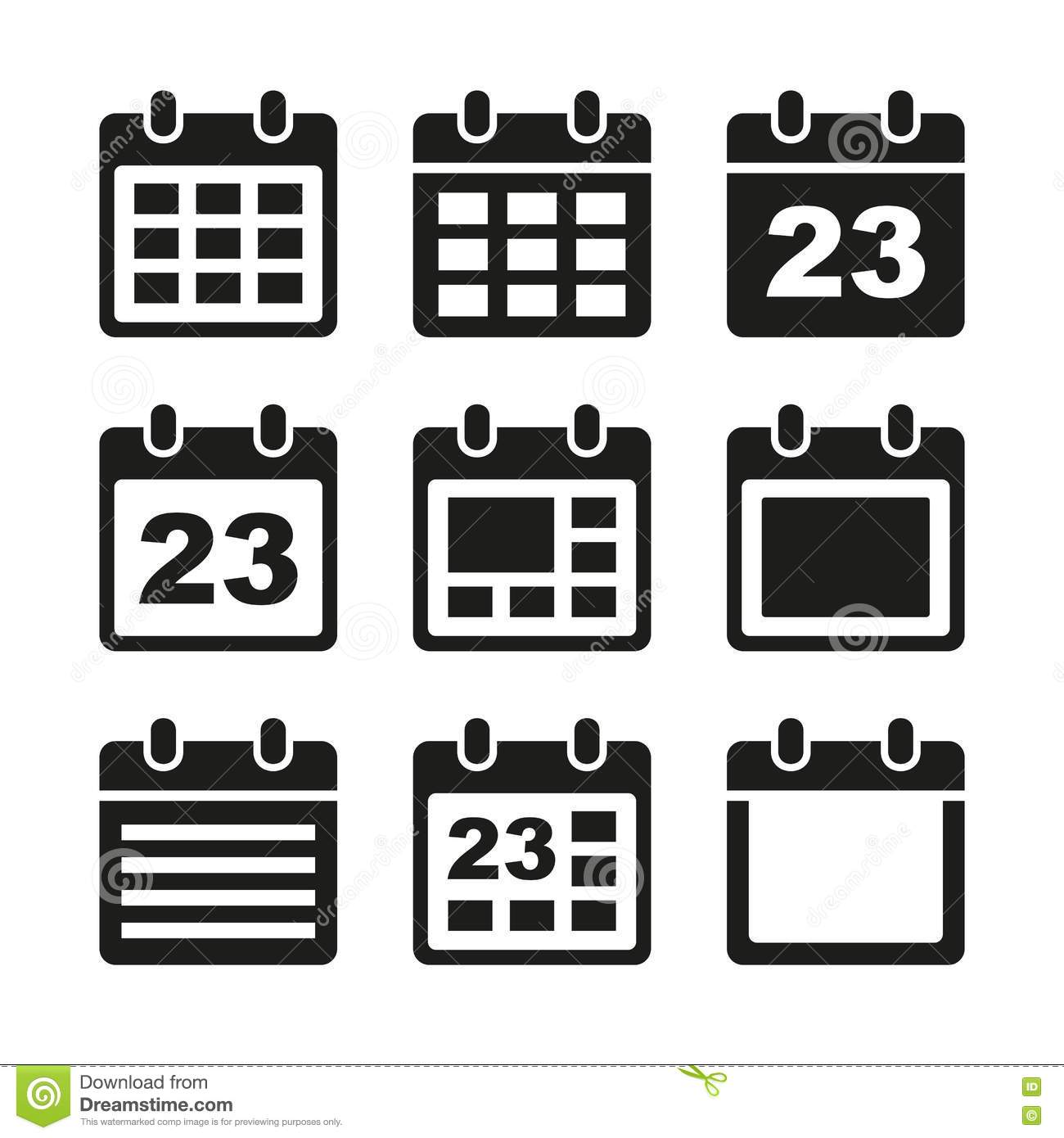 Calendar icons set. stock vector. Illustration of 2012