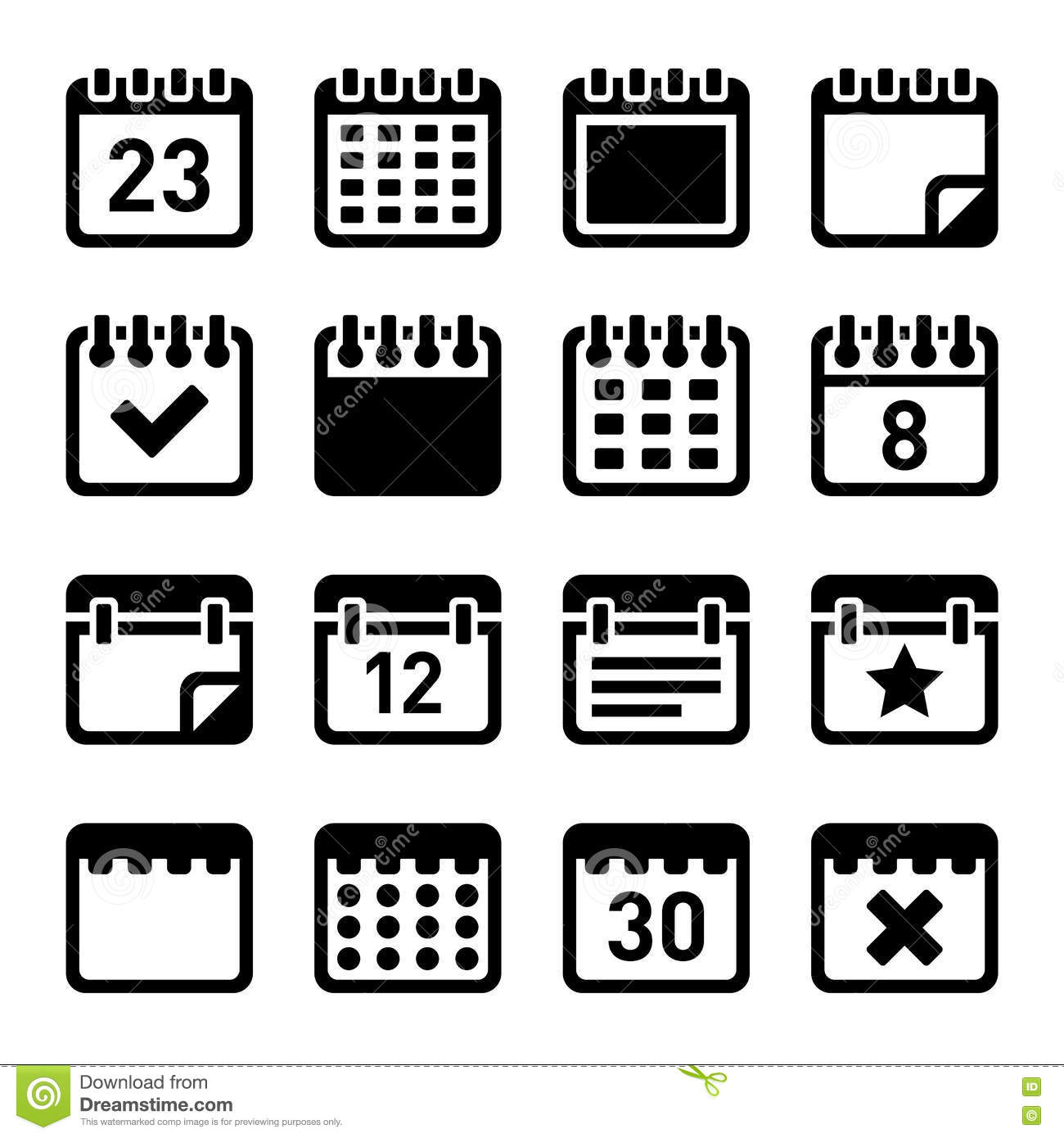 Calendar Icons Set stock vector. Illustration of office