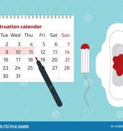 a calendar with the menstrual days marks and menstrual pad with blood drop vector illustration [ 1600 x 1224 Pixel ]