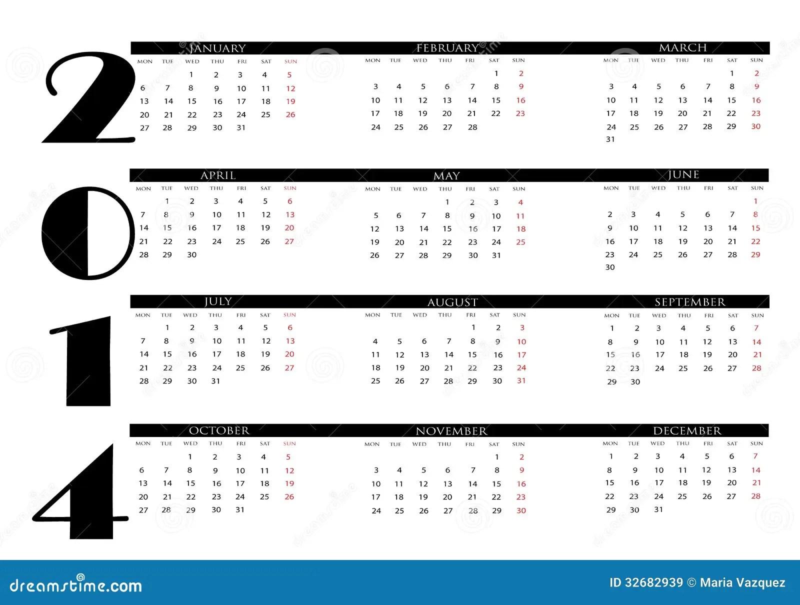 Calendar 2014 stock vector. Illustration of business