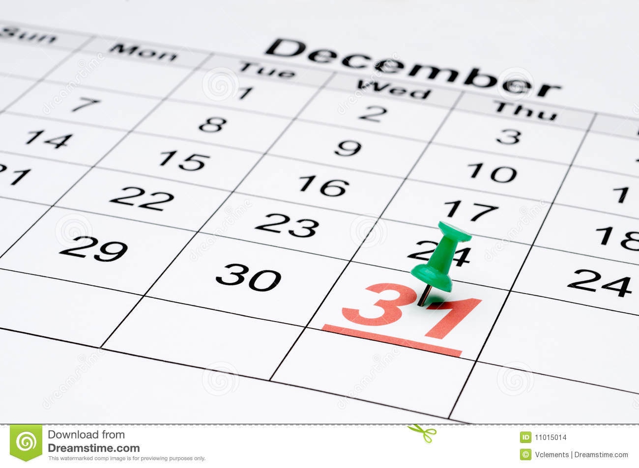 A Calendar With New Year S Eve Marked Stock Photo