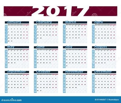 Calendar 2017 Vector Design Template. Week Starts With ...