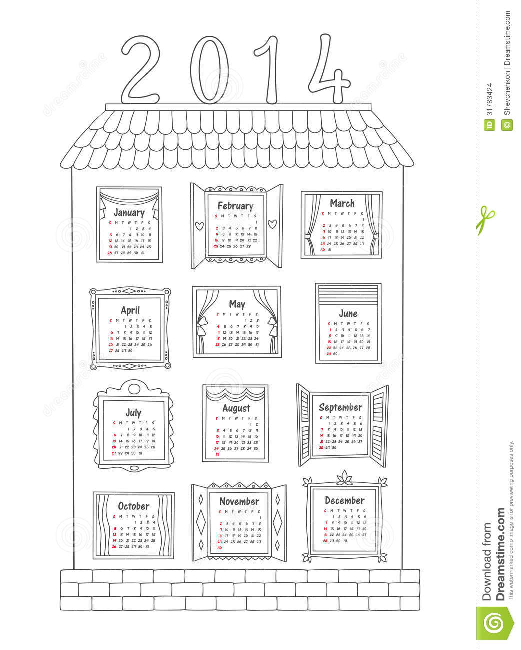 Calendar For The Year 2014. A Painted House With W Stock