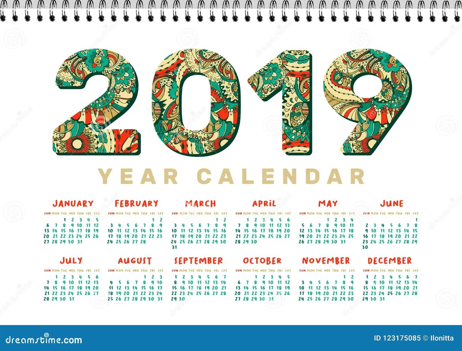 Calendario Da Scrivania 2019 Modello Stampabile Bianco Di