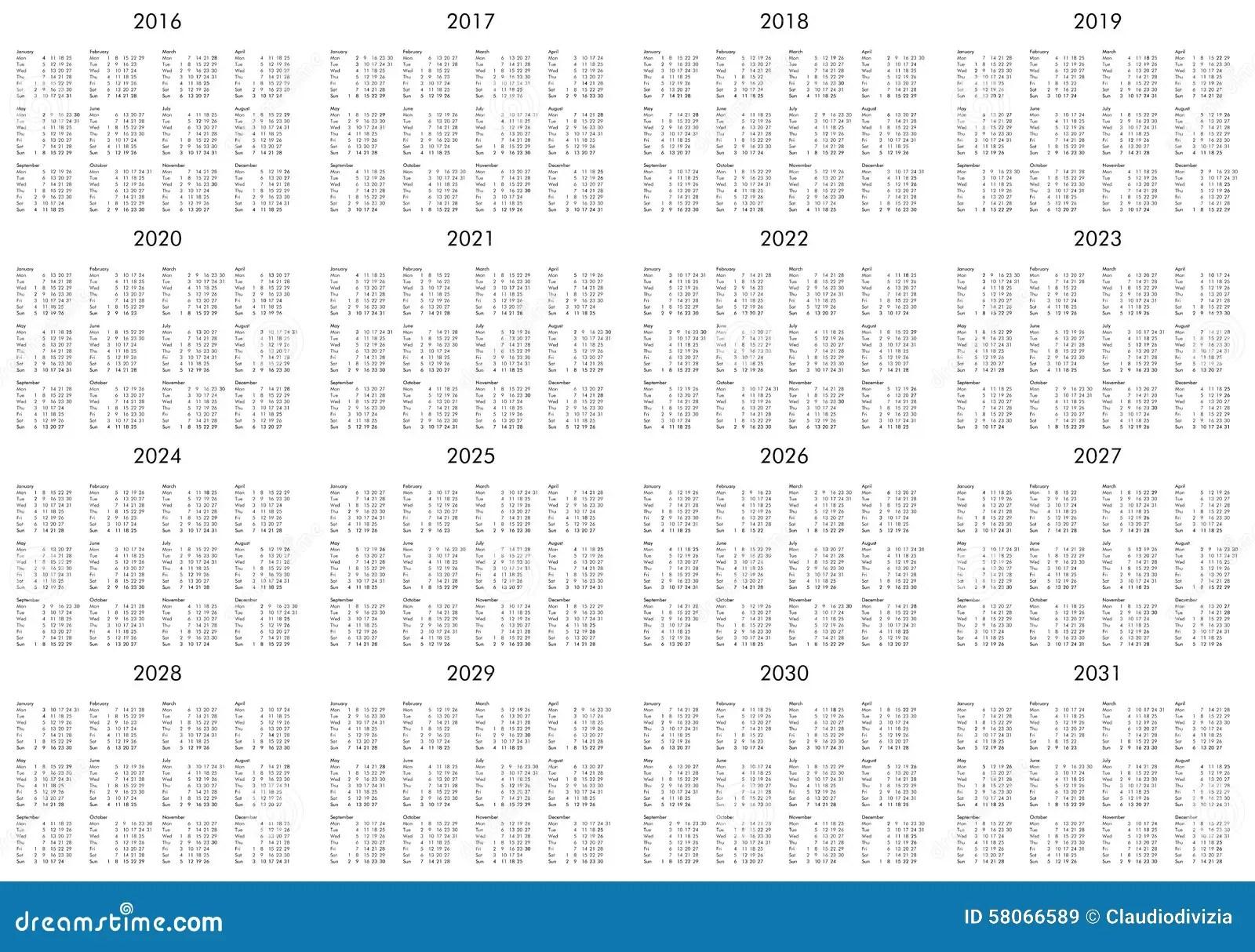 Calendario De Los Años 2016 A 2031 Imagen de archivo
