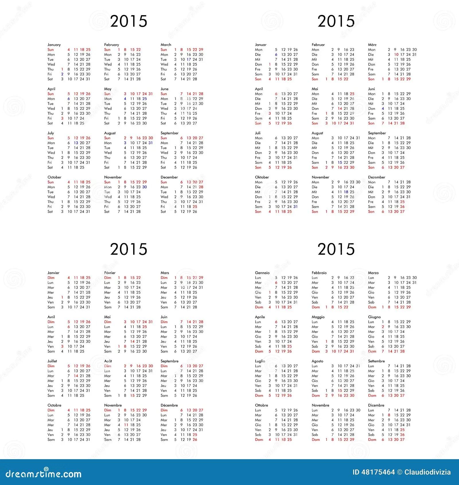 2015 Calendrier Multilingue DE FR IT BRITANNIQUE