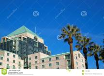 California Hotel With Palm Trees Stock
