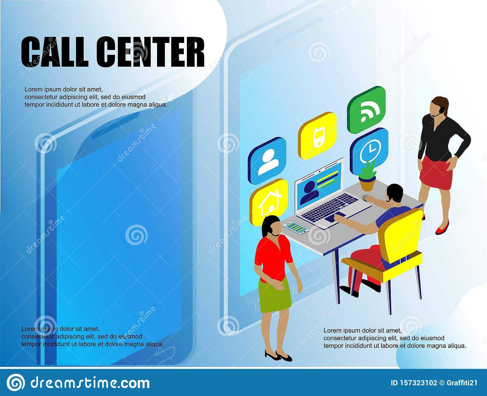 Call Center Flat Illustration Office Business Concept