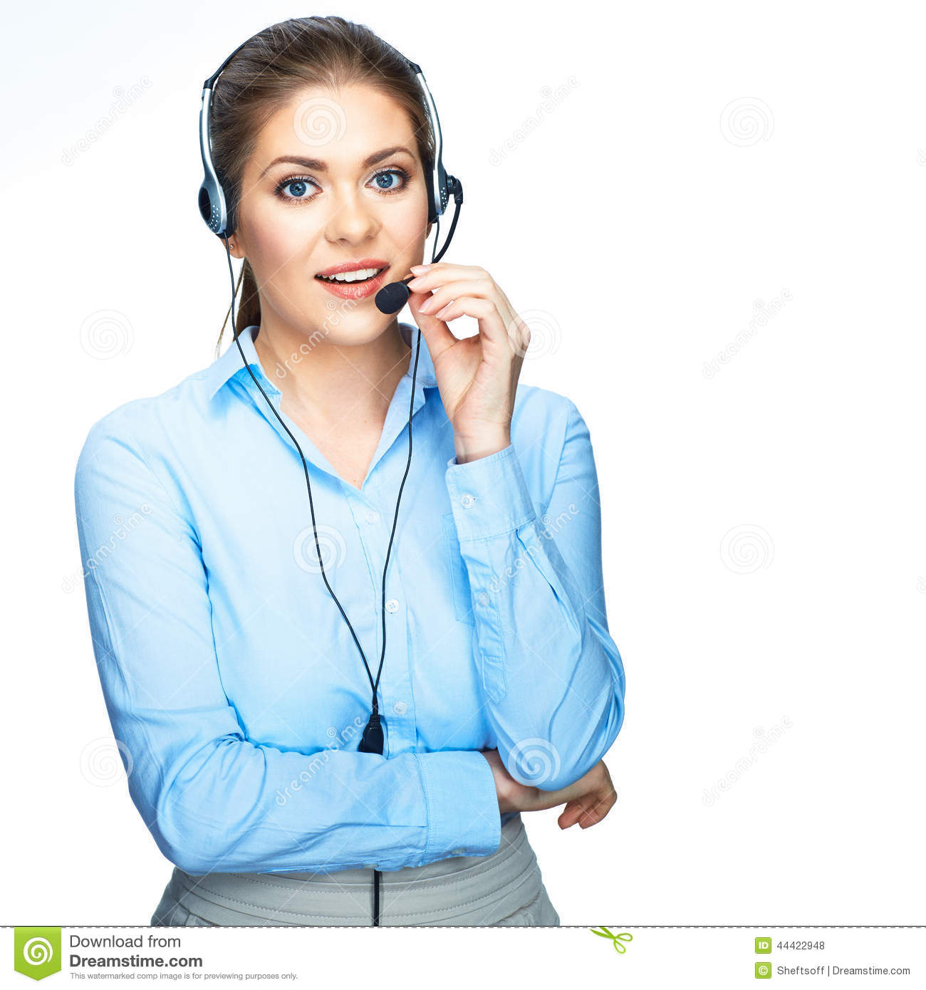 Call Center Operator Consultant Talking With Micro Stock Photo  Image 44422948