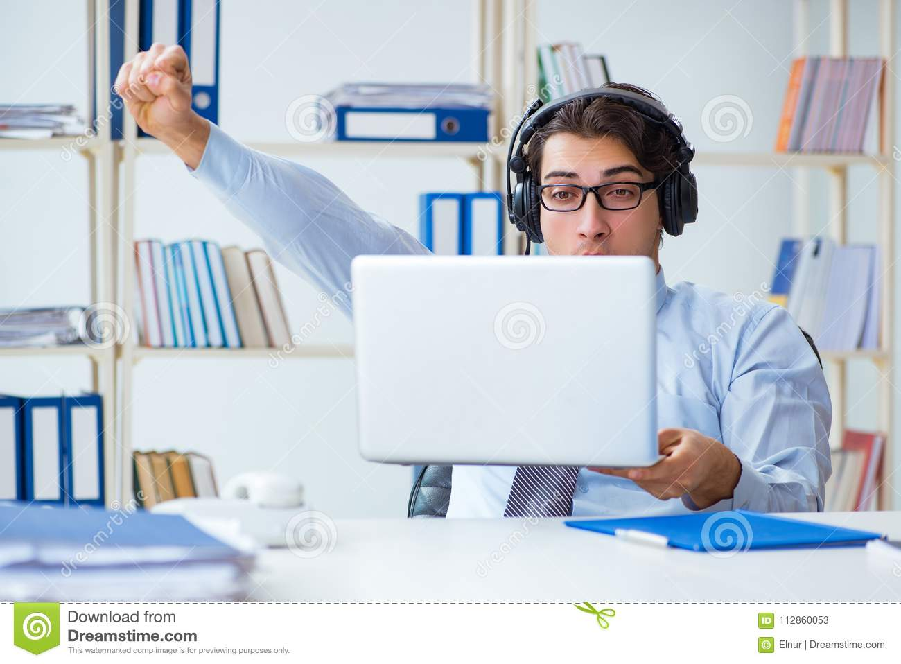 The Call Center Operator Talking To Customer On Live Call