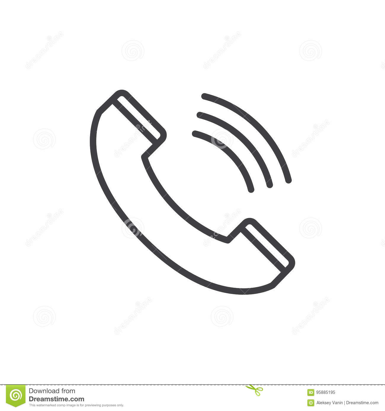 Call Line Icon, Outline Vector Sign, Linear Style