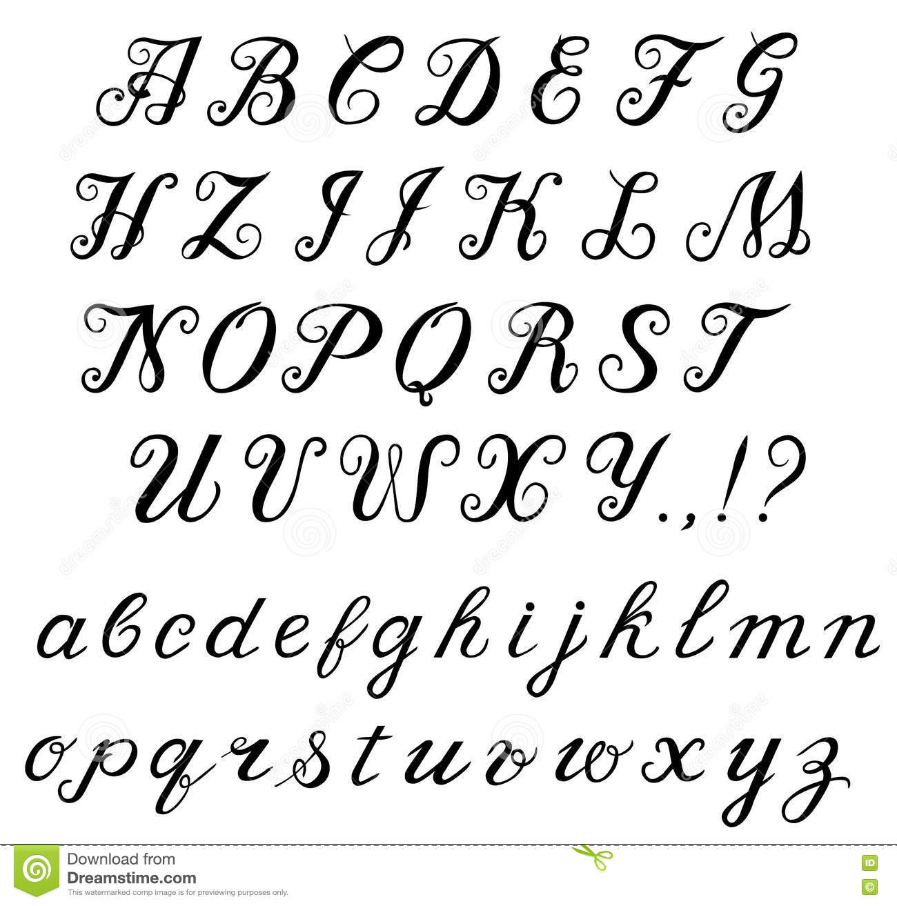 Calligraphy Handwritten Alphabet Stock Vector