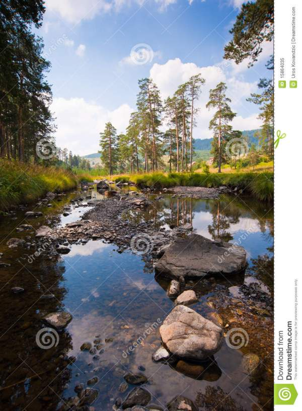calm mountain river rocks landscape