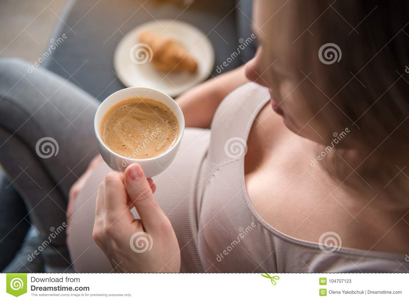 Calm Pregnant Woman Drinking Coffee At Home Stock Image ...
