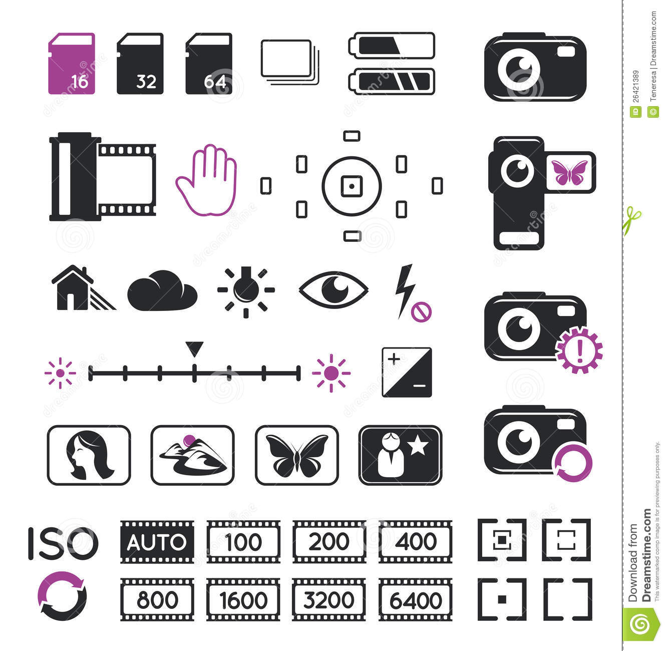 Camera Display Icons And Symbols Stock Vector
