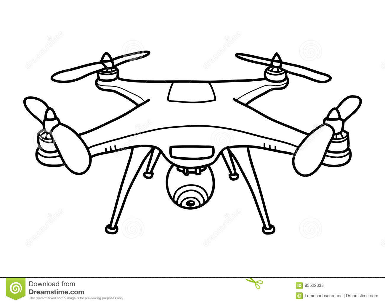 Camera Drone Doodle stock vector. Illustration of