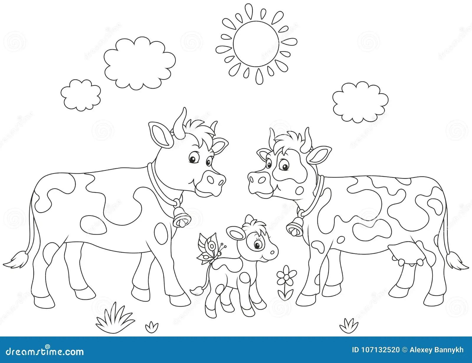 Camminata Della Famiglia Della Mucca Illustrazione