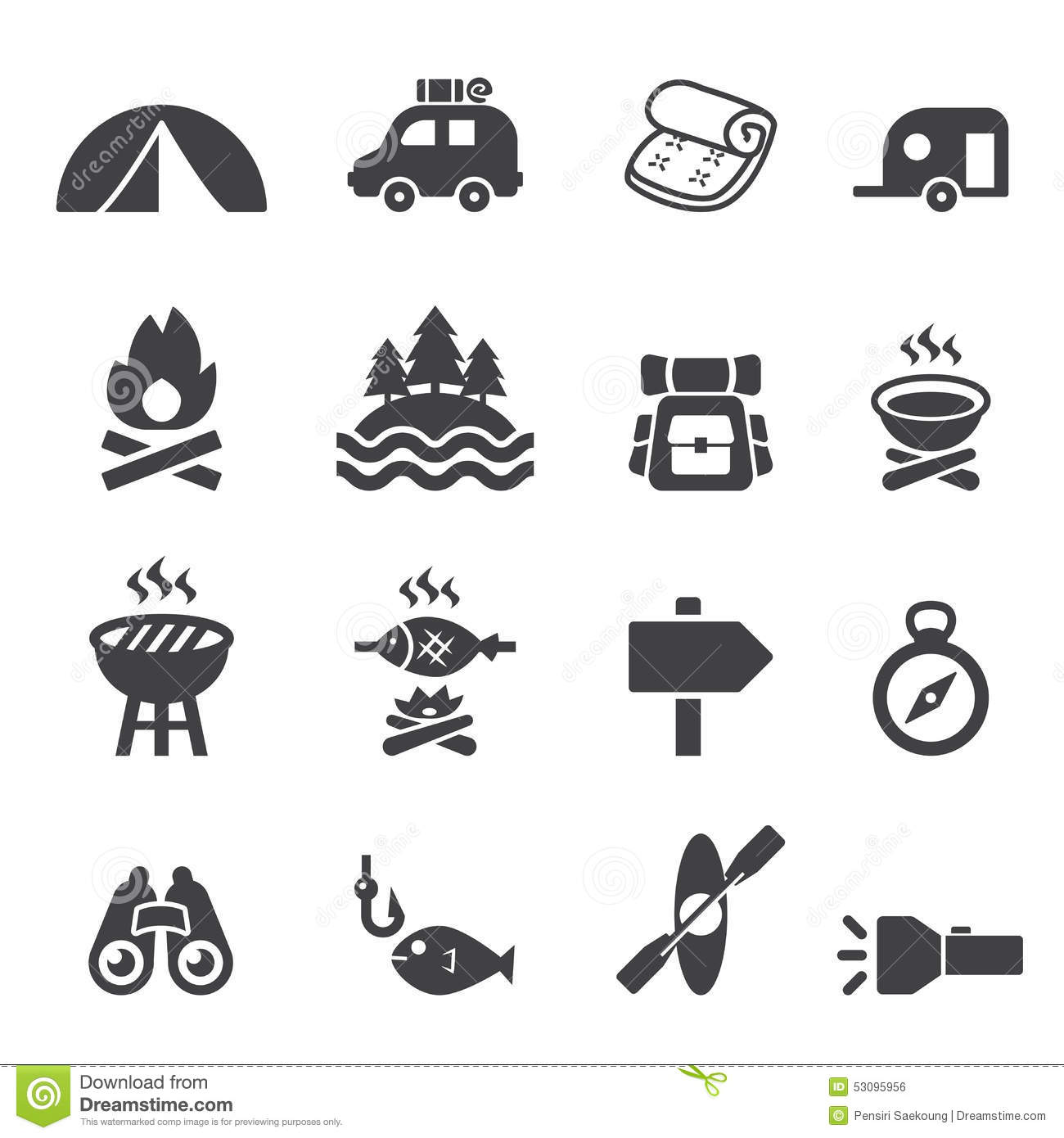Camp Icon Set Stock Vector Illustration Of Fire