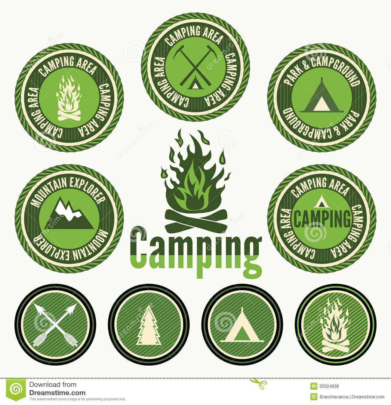 Camping Badges And Labels Stock Vector Illustration Of