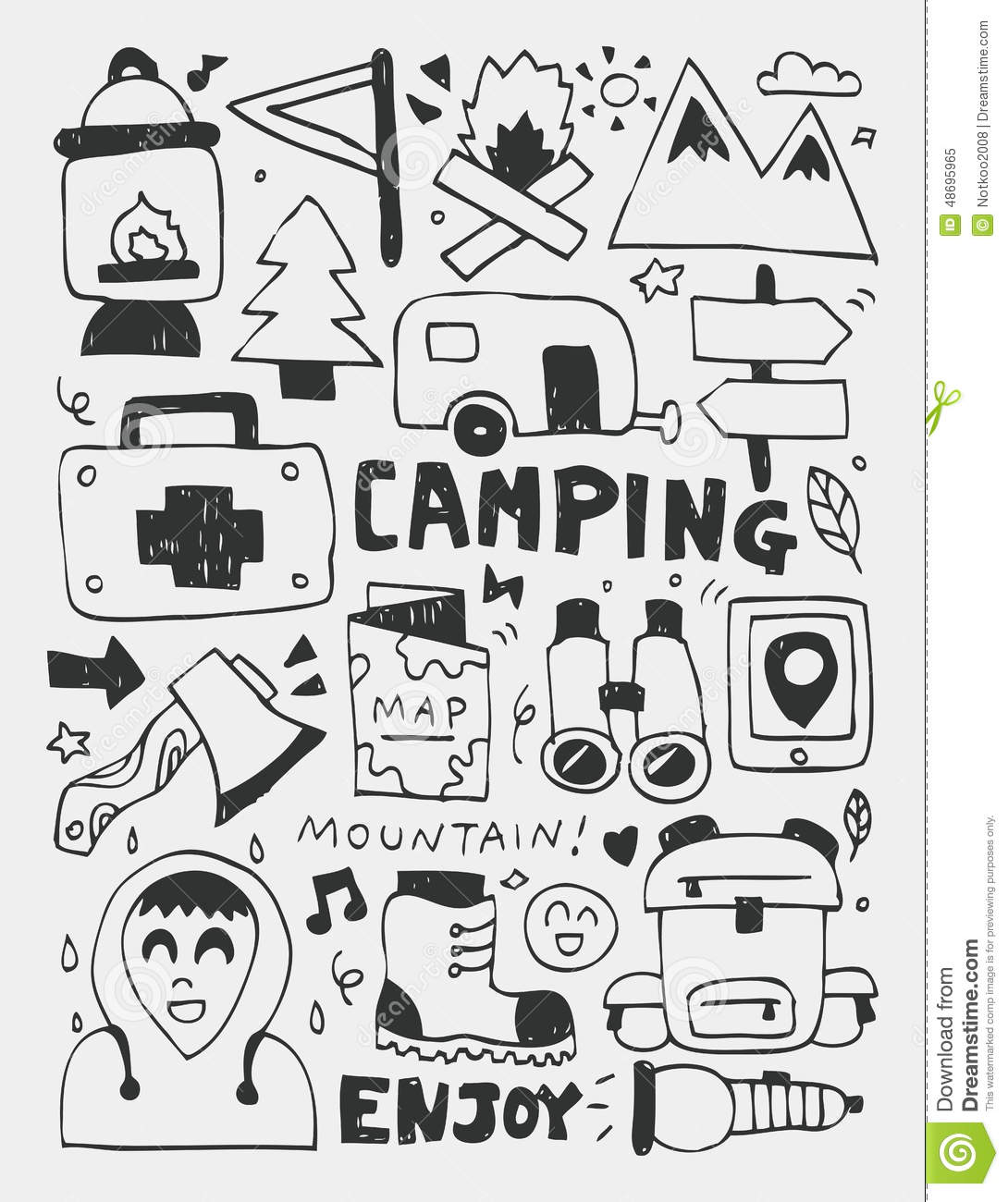 Camping Elements Doodles Hand Drawn Line Icon Eps10 Stock