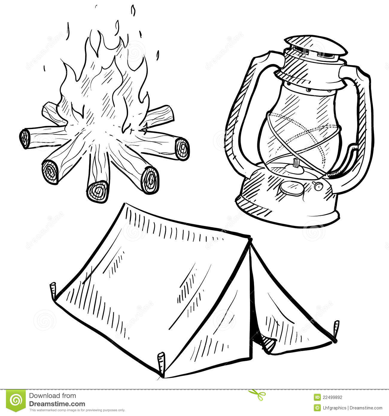 Camping Equipment Drawing Stock Vector Illustration Of