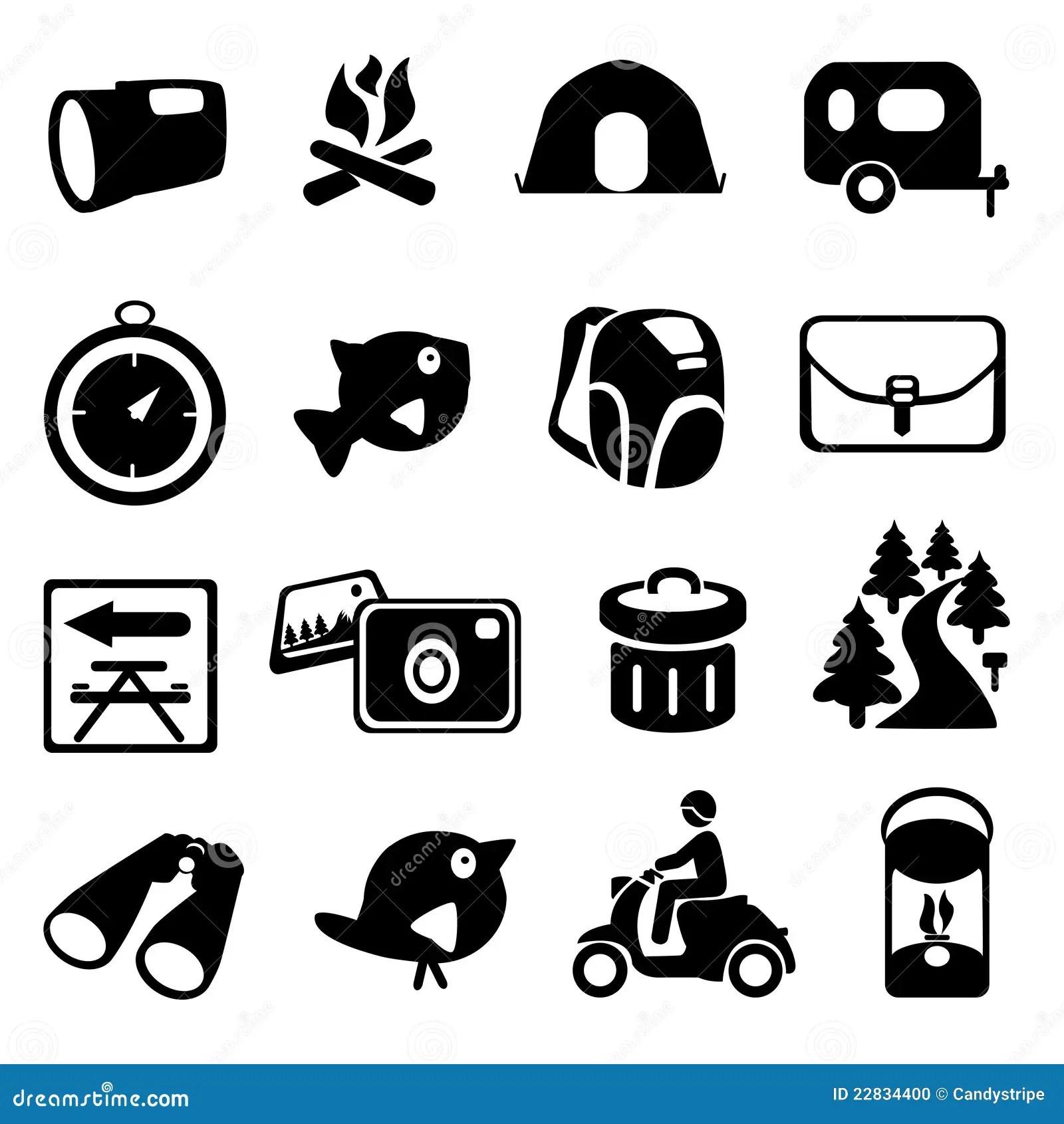 Camping Hiking Icon Set Stock Photo
