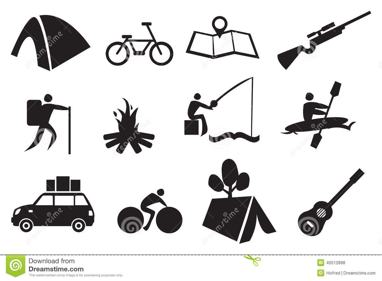 Camping Icon Set Stock Vector Illustration Of Icon Kayak